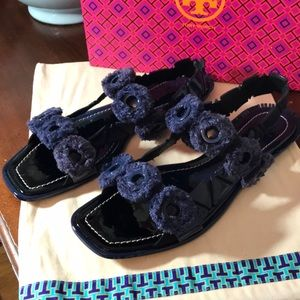 Tory Burch blue designer sandals.